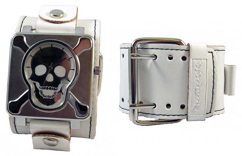 Nemesis White Stud Skull Plate Wide Leather Cuff Watch