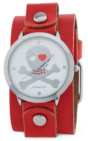 Nemesis Ladies Red Band Skull Face Cuff Watch