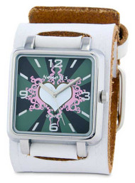 Nemesis Ladies White Heart Face Cuff Watch