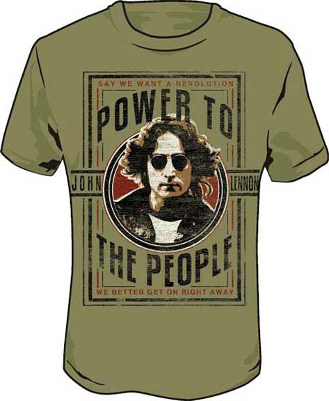 John Lennon Power to The People Tee Shirt in Light Olive
