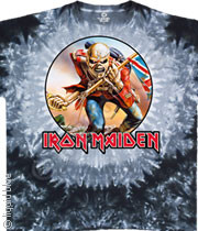 Iron Maiden The Trooper Mens Tie Dye Tee Shirt
