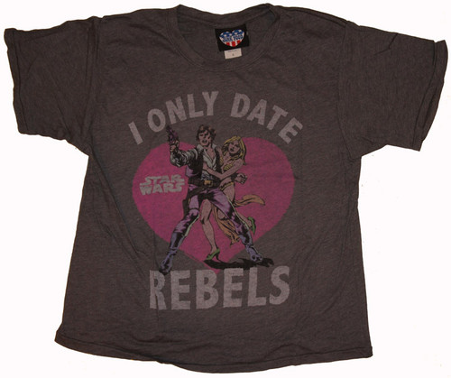 Junk Food Star Wars I Only Date Rebels Boyfriend T Shirt for Women