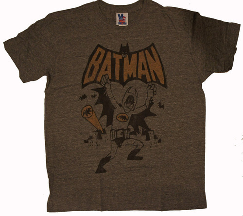 Junk Food Mens Batman Cartoon Sketch Tri Blend T Shirt