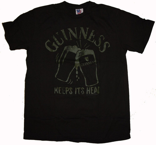 Mens Guinness Keeps Its Head Tee Shirt in Black Wash by Junk Food Clothing