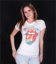b69340d85 The Rolling Stones Rainbow Tongue Girls T-Shirt by Junk Food Clothing