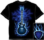 FLAMING GUITAR MENS TEE SHIRT