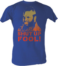 The A Team Mr T Shut Up Fool Mens Tee Shirt in Royal Blue
