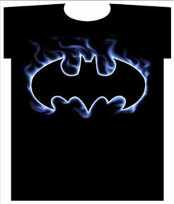 BATMAN FLAME LOGO MENS TEE SHIRT