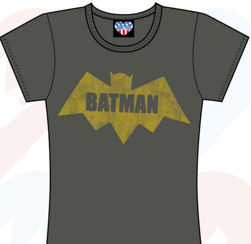 Batman Bat Womens Tee Shirt by Junk Food Clothing in Charcoal Wash
