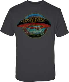 Boston Spaceship Distressed Logo Mens Tee Shirt