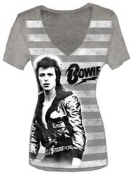 David Bowie Stripes Vintage Style V Neck Womens T Shirt