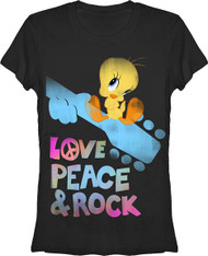 Love Peace and Rock Looney Toons Tweety Bird  Vintage Style Womens T Shirt