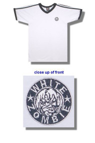 White Zombie Embroidered V Neck Soccer Jersey