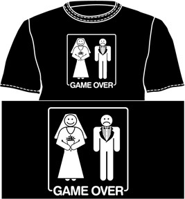 Game Over Bride and Groom Mens Black Tee Shirt