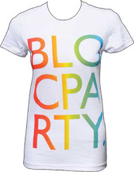 Bloc Party Rainbow Letters Womens Tee Shirt