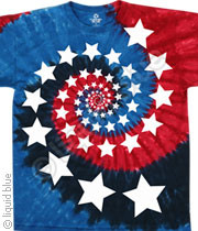 Red White and Blue Spiral Stars American Tie Dye Tee Shirt