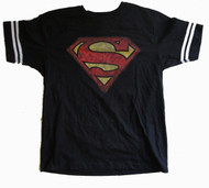 Superman Athletic Striped Distressed Mens Tee Shirt