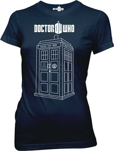 Dr Who Tardis Vector Graphic Womens Tee Shirt