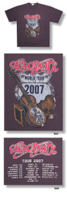 Aerosmith Distressed Guitar 2007 World Tour Mens Tee Shirt