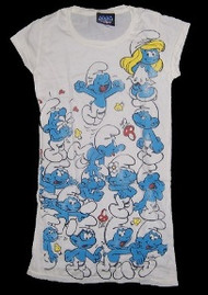 Smurfs on White Tunic Womens Tee Shirt by Junk Food Clothing