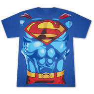 Superman Uniform Muscle Chest Mens Tee Shirt