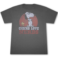 Mens Junk Food Snoopy Chicks Love Nerds T Shirt