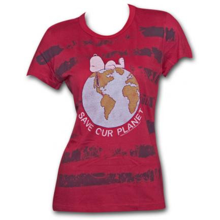 Peanuts Snoopy Save Our Planet Striped Red Womens T Shirt