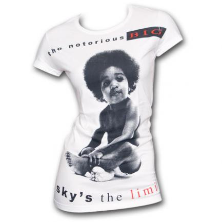 Notorious BIG Sky's The Limit White Ladies Graphic Tee Shirt
