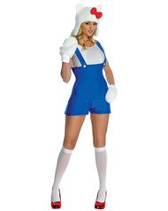 Sexy Hello Kitty Blue Romper Womens Costume