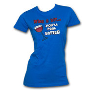 Wine A Bit You'll Feel Better Humor Royal Blue Graphic Womens Tee Shirt