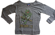 The Muppets Kermit The Frog Ladies Long Sleeve T-Shirt by Junk Food Clothing