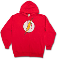 The Flash Logo Red Graphic Superhero Zipper Hoodie Sweatshirt
