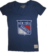 Vintage NHL New York Rangers Ladies Deep V T-Shirt in Blue