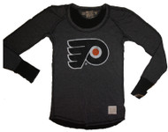 Vintage NHL Philadelphia Flyers Ladies Long Sleeve Pullover in Heather Black