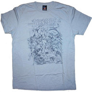 The Avengers Mens T-Shirt in Chalk Blue By Junk Food Clothing