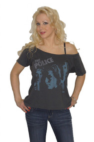 The Police Off The Shoulder Flirt Ladies T-Shirt By Junk Food Clothing