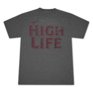 Miller High Life Distressed Red Logo Charcoal Gray Graphic Tee Shirt