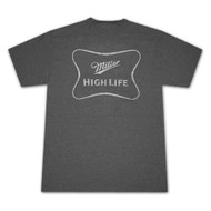 Miller High Life Faded Logo Outline Dark Gray Graphic Tee Shirt