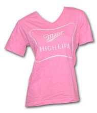 Miller High Life Logo Outline Pink Ladies Graphic T Shirt