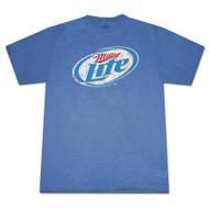 Miller Lite Distressed Logo Heather Blue Graphic T Shirt
