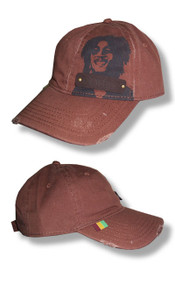 Bob Marley Leather Patch Distressed Edge Cap