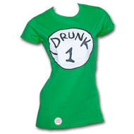 Dr. Seuss Inspired Drunk 1 Bottle Opener Womens Green Tee Shirt