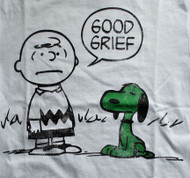 Vintage Style Snoopy and Charlie Brown Good Grief Irish Adult T-Shirt