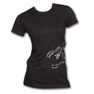 Jack Daniels Foil Side Scroll Black Womens Graphic Tee Shirt