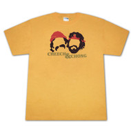 Cheech & Chong Faces Golden Yellow Graphic Tee Shirt
