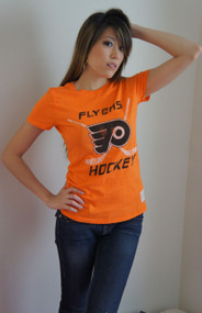 Vintage NHL Philadelphia Flyers Hockey Ladies Shirt in Orage