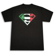 Superman Italian Flag Crest Black Graphic T-Shirt