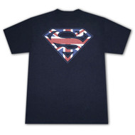 Superman British Shield Great Britain Flag Dark Blue Graphic T-Shirt