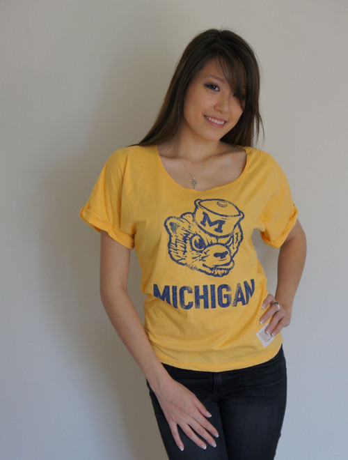 Vintage Michigan Wolverines Ladies Dolman in Gold