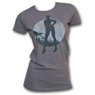Catwoman Gotham City Moon Womens Gray T-Shirt